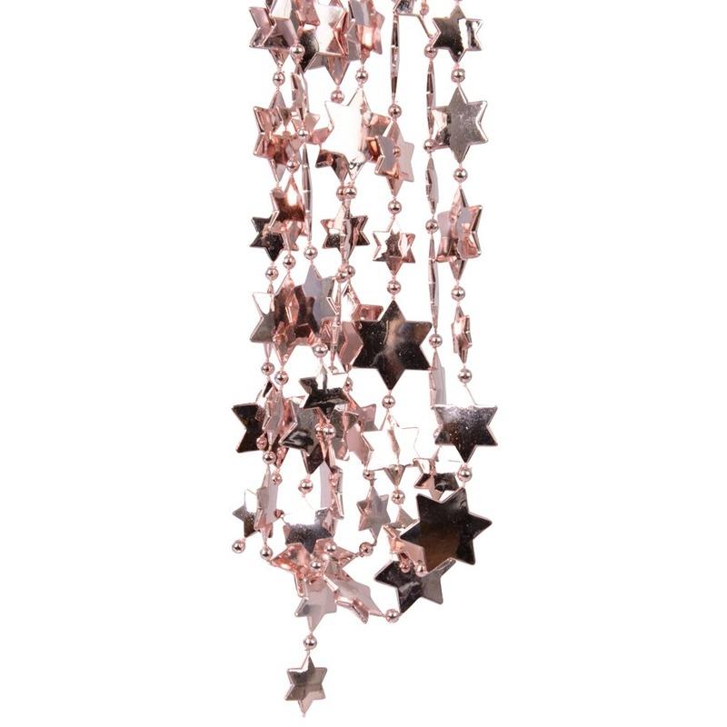 Oud roze kerstboom sterren kralenketting 270 cm