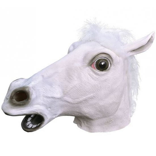 Paarden masker wit van rubber -