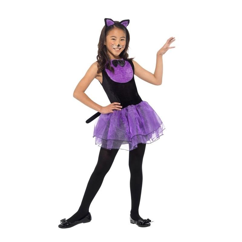 Paars met zwarte kat/poes verkleedkleding voor meiden 115-128 (4-6 jaar) Multi