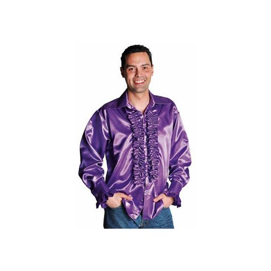 Paars rouches overhemd voor heren XL (60-62) Paars