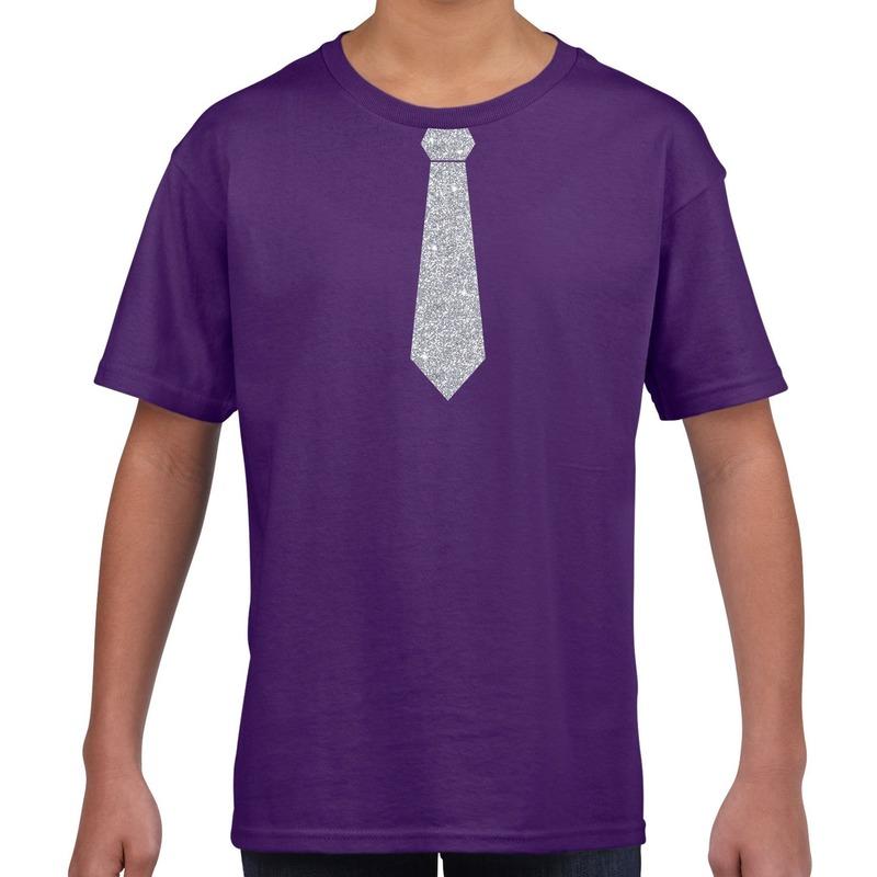 Paars t-shirt met zilveren stropdas voor kinderen M (134-140) Paars