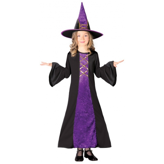Paarse heksenjurk halloween kostuum meisjes 110-116 (5-6 jaar) Multi