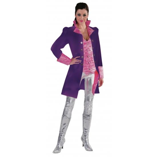 Paarse markiezin jas voor dames 40 (L) Paars