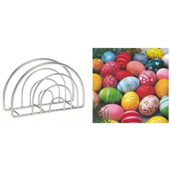 Paas servettenhouder inclusief 20 paas servetten gekleurde eitjes - Feestservetten
