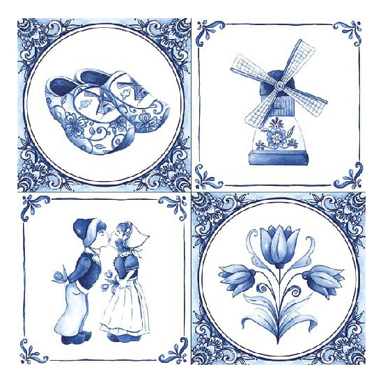 Papieren servetten met Delfts blauw thema print 60 stuks - Feestservetten
