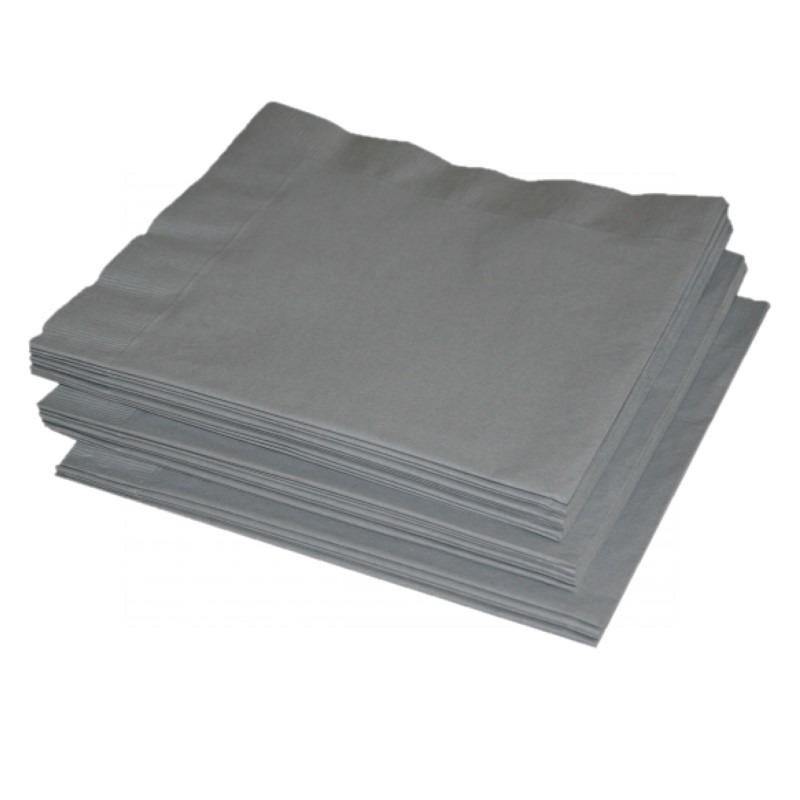 Papieren zilveren servetten 41 x 41 cm Zilver