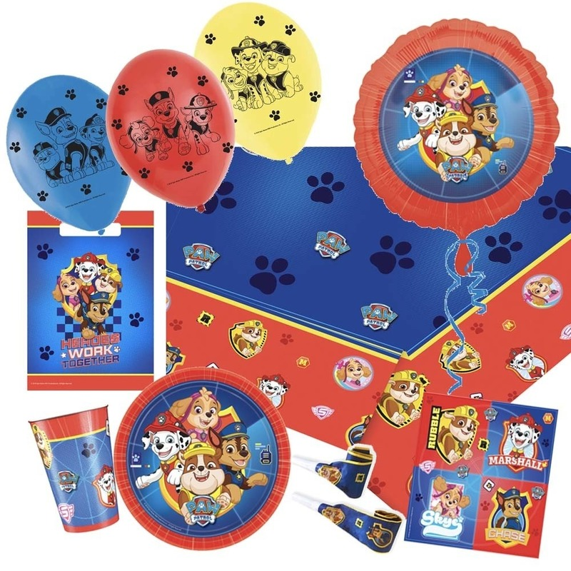 Paw Patrol thema feestje versiering XL pakket 9-16 kinderen -