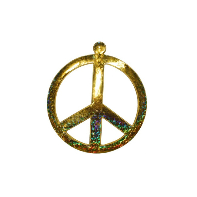 Peace teken wanddecoratie goud 52 cm Goudkleurig
