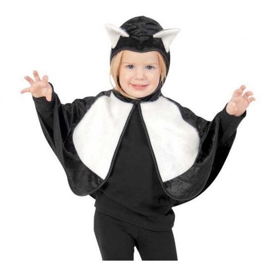 Peuter verkleed poncho kat met capuchon 86 Zwart