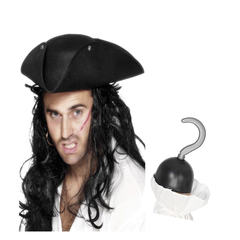 Piraten verkleed accessoires driehoekige hoed en haak Multi