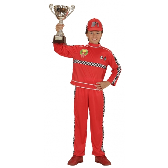 Race coureur kostuum voor jongens 128 Rood
