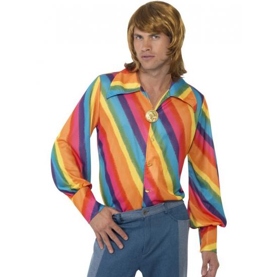 Regenboog thema shirt 52-54 (L) Multi
