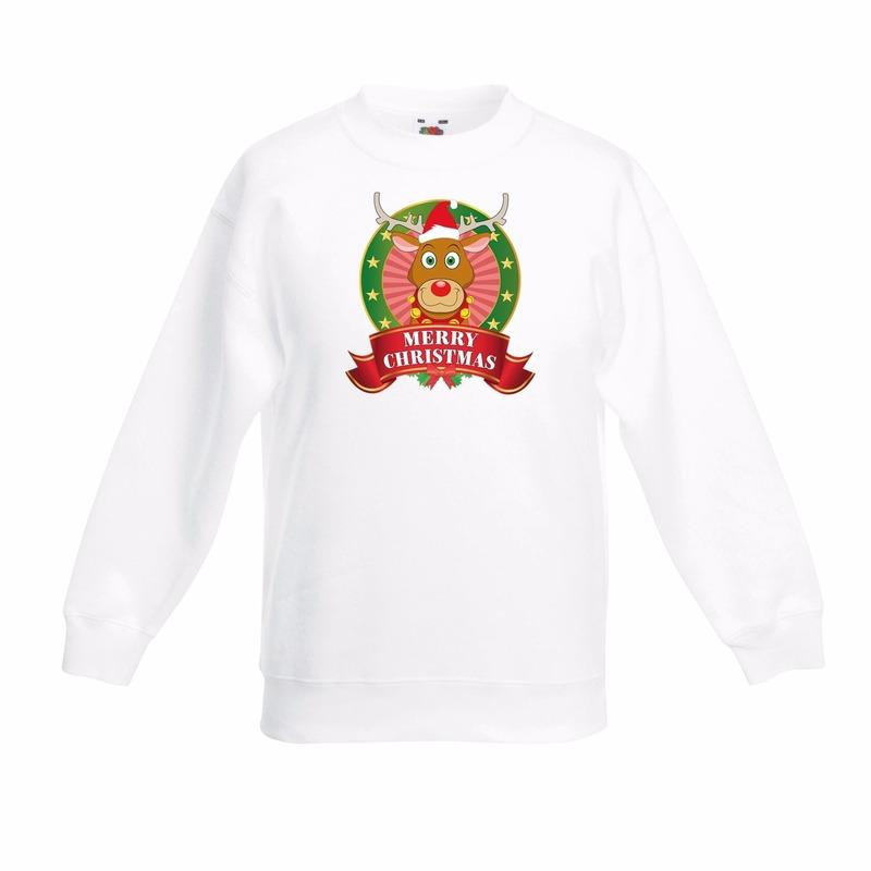 Rendier Rudolf kerstmis sweater wit voor jongens 5-6 jaar (110/116) Wit