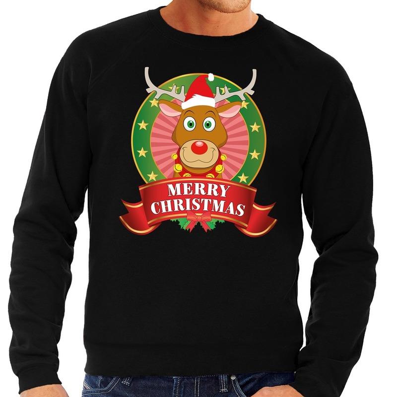 Rendieren kersttrui zwart Merry Christmas heren L (52) Zwart