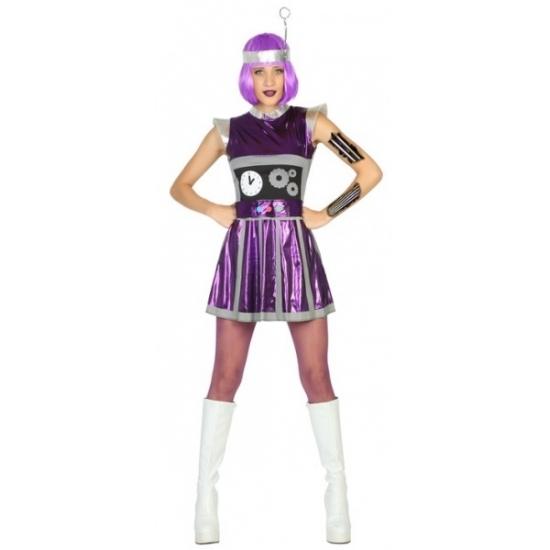 Robot verkleedkleding paars voor dames XS/S (34-36) Paars