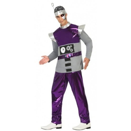 Robot verkleedkleding paars voor heren M/L Paars