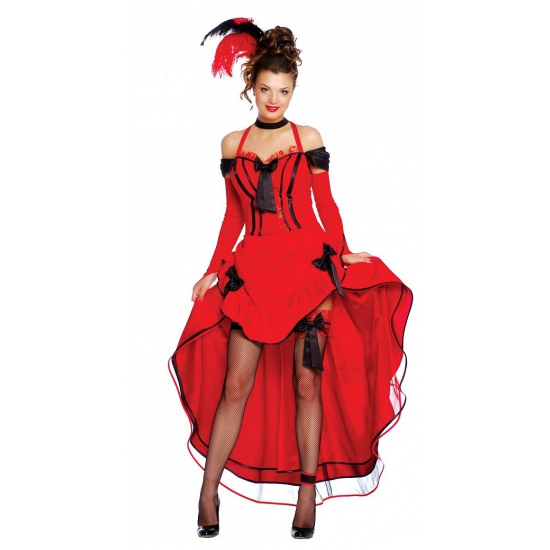 Rode burlesque danseressen jurk L Rood
