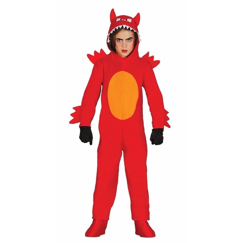 Rode duivel monster onesie voor jongens 7-9 jaar (122-134) Rood