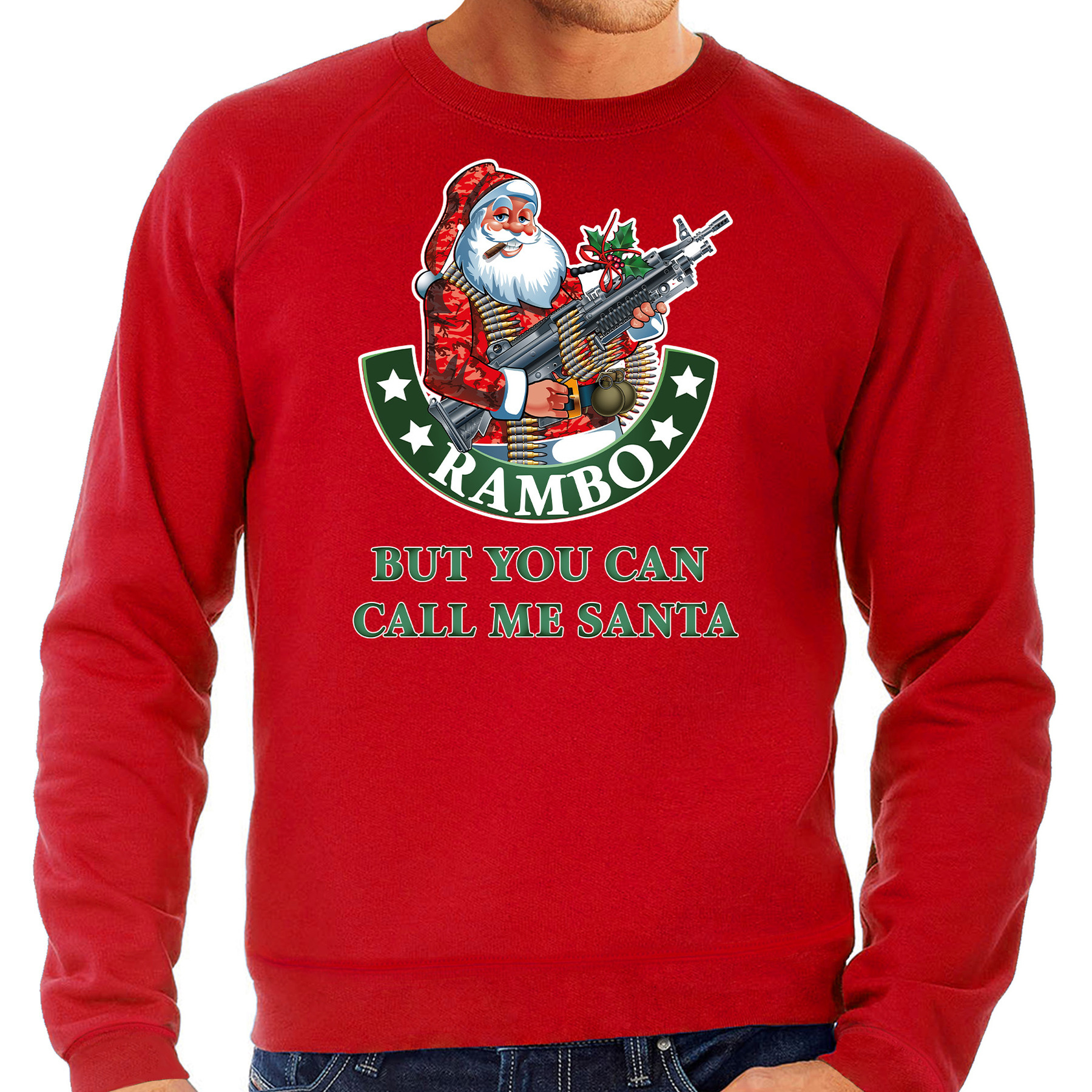 Rode foute Kersttrui - Kerstkleding Rambo but you can call me Santa voor heren grote maten 4XL (60)