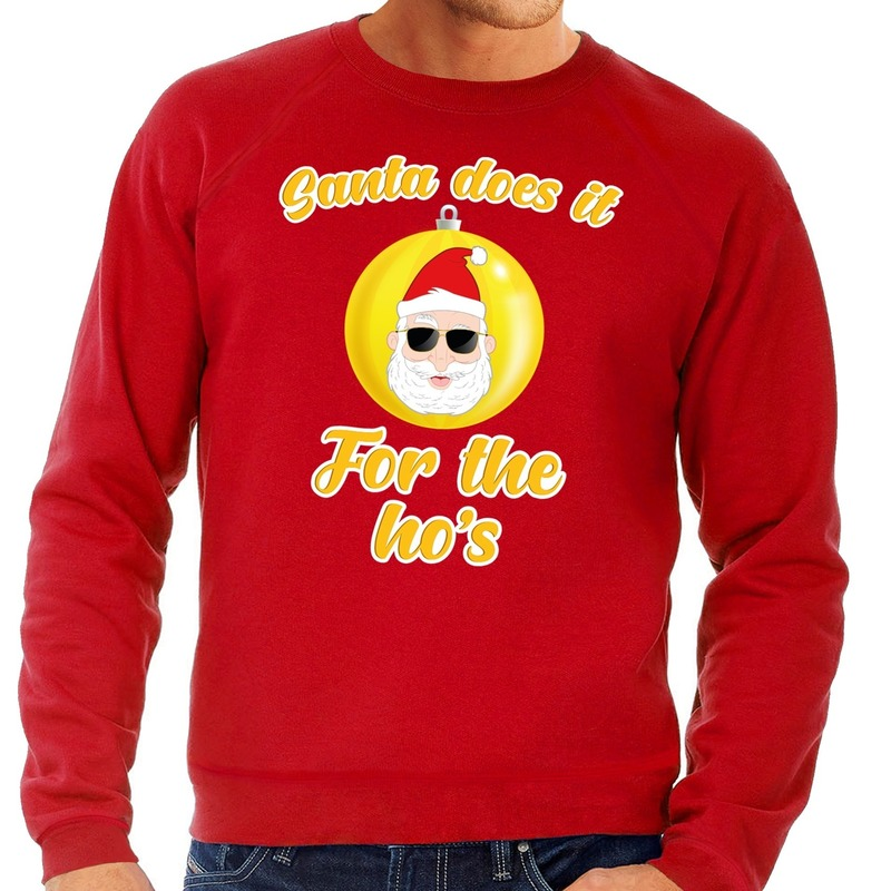 Rode foute Kersttrui Kerstman does it for the ho's voor heren XL (54) Rood