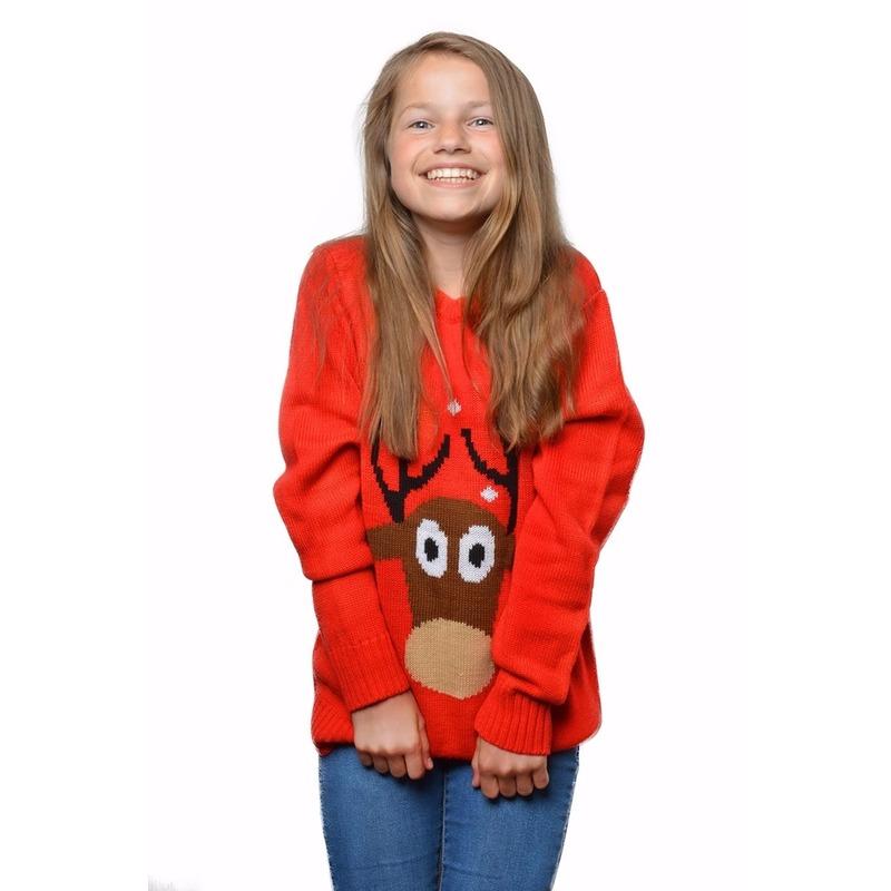 Rode foute kersttrui met rendier voor kids 11/12 jaar (152/158) Rood