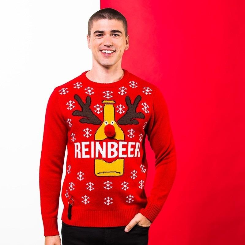 Rode kerst sweater met bierfles voor heren 2XL (46/56) Rood