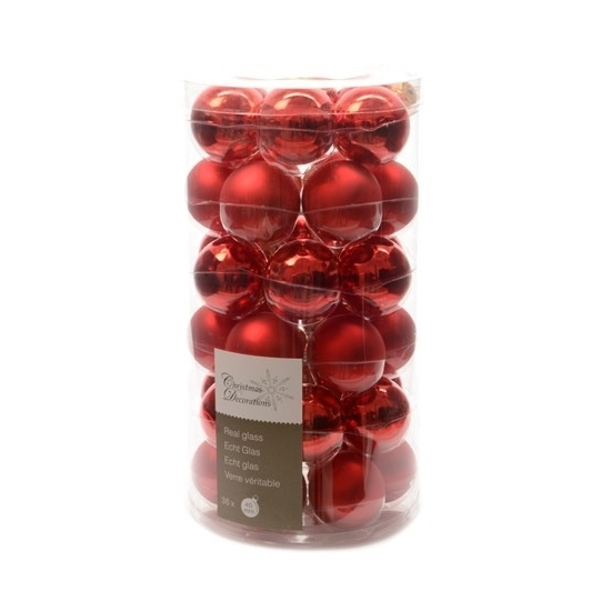 Rode kerstballen mix 36x