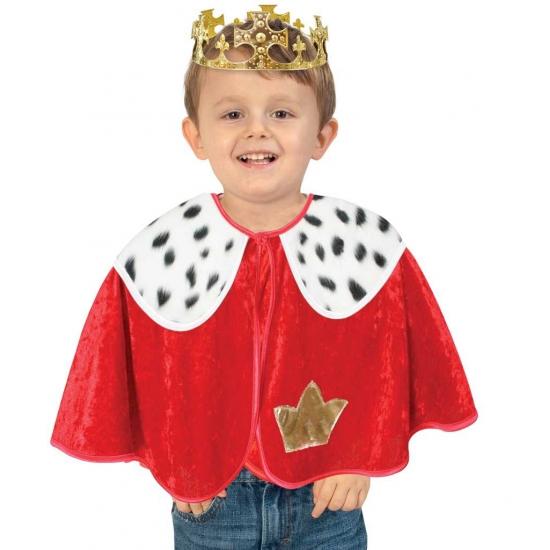Rode koning verkleed poncho voor peuters 92 Multi