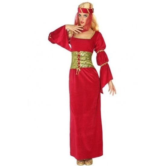 Rode middeleeuwse jonkvrouw jurk met sluier XL (42-44) Rood