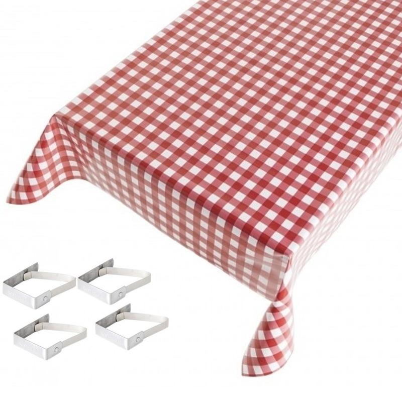 Rode tafelkleden/tafelzeilen ruiten print 140 x 170 cm rechthoekig met 4x tafelkleedklemmen Rood