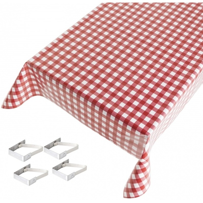 Rode tafelkleden/tafelzeilen ruiten print 140 x 240 cm rechthoekig met 4x tafelkleedklemmen Rood