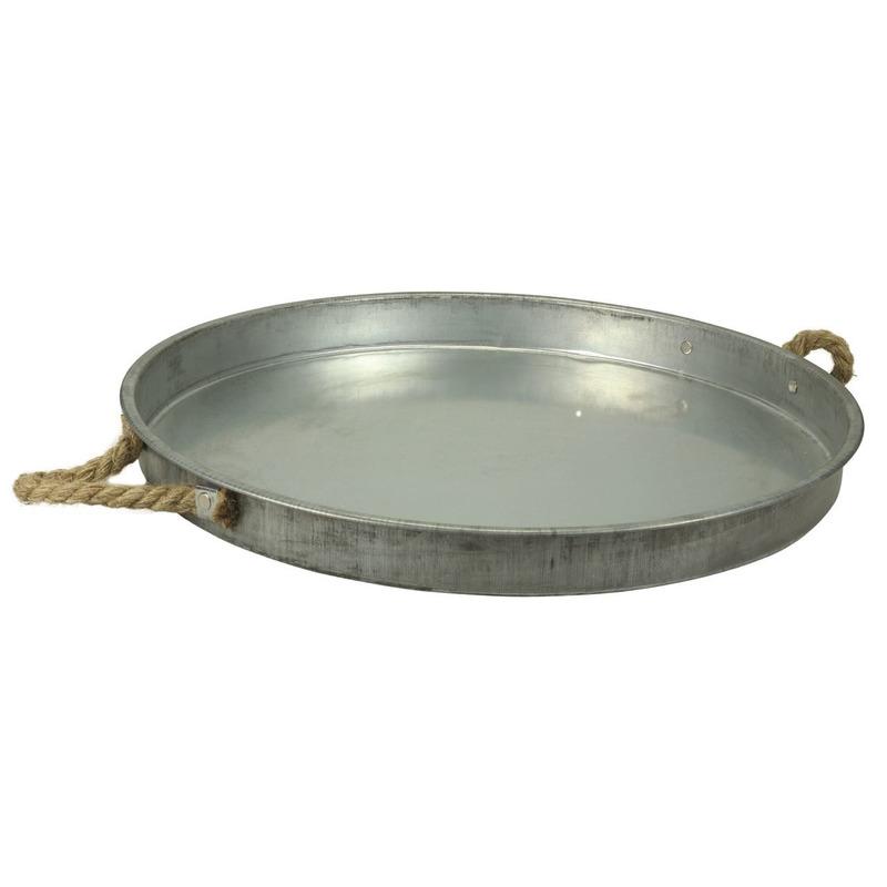 Zinken schaal/dienblad rond met touw handgrepen 44 cm Zilver