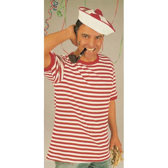 Rood met wit gestreepte matrozen shirt 2XL Multi