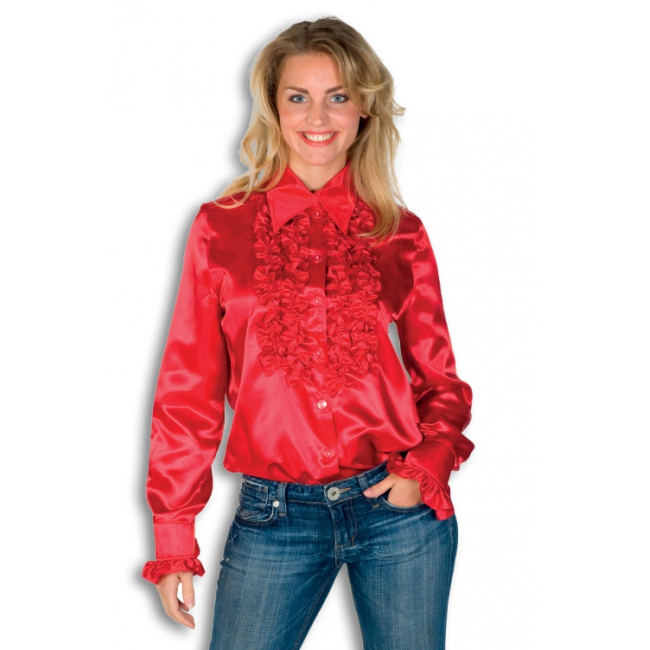 Rood overhemd met rouches 40 (L) Rood
