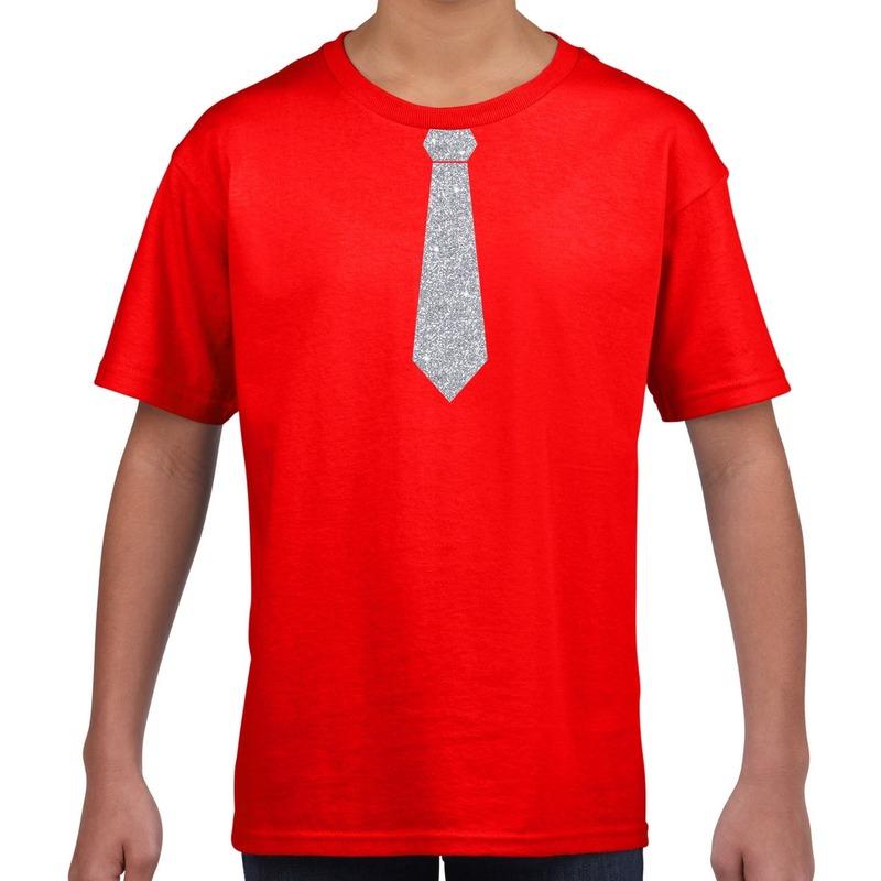 Rood t-shirt met zilveren stropdas voor kinderen M (134-140) Rood