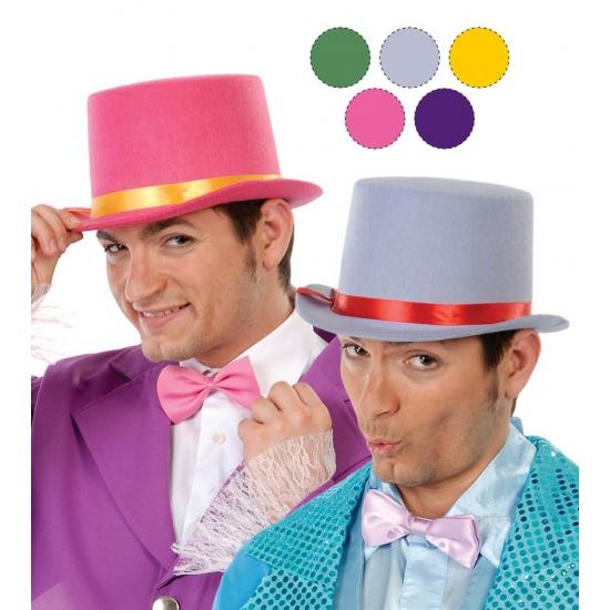Roze hoge hoed van vilt met gouden lint Roze