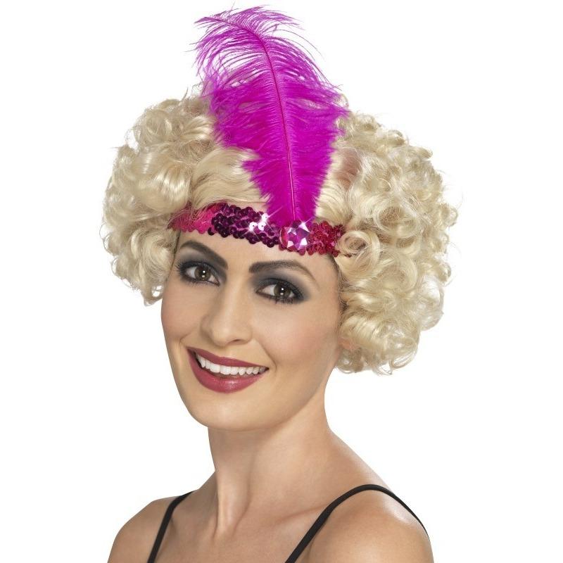 Roze jaren 20 hoofdband met veer Roze