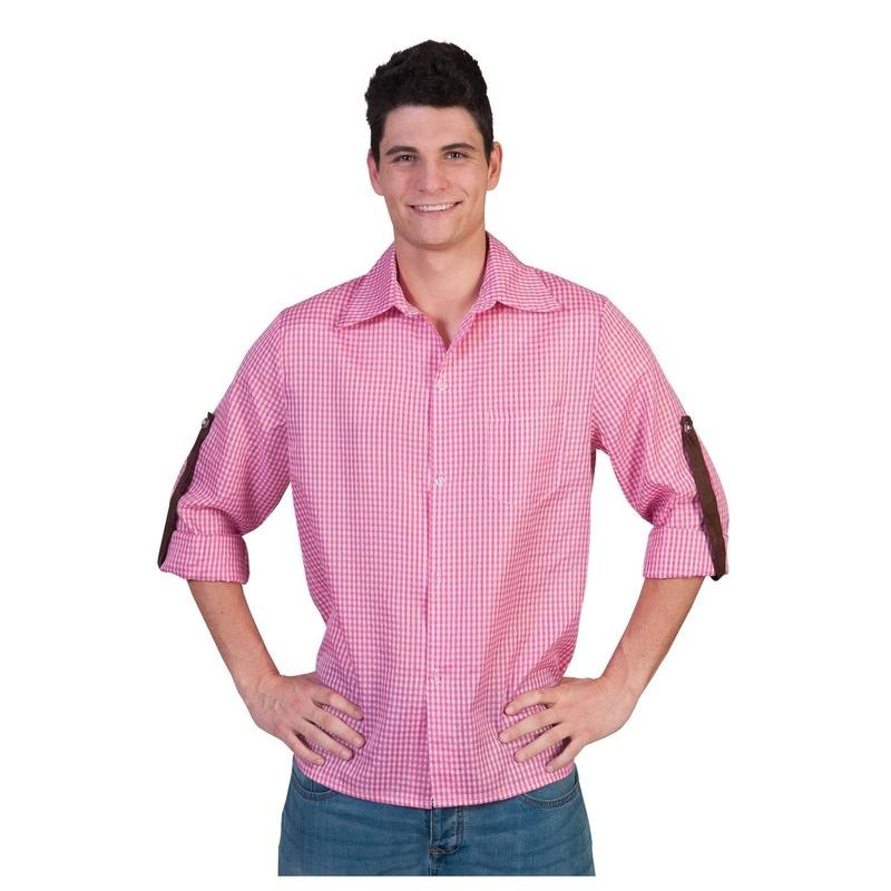 Roze met wit geruite blouse voor heren 56-58 (2XL/3XL) Roze