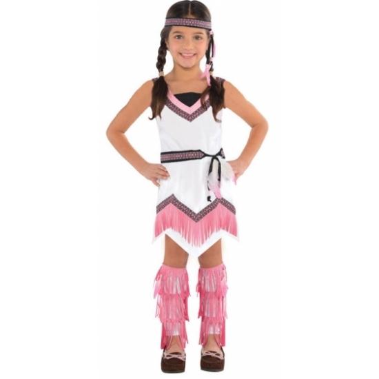 Roze met wit indianen kostuum voor meiden 4-6 jaar (104-116) Roze