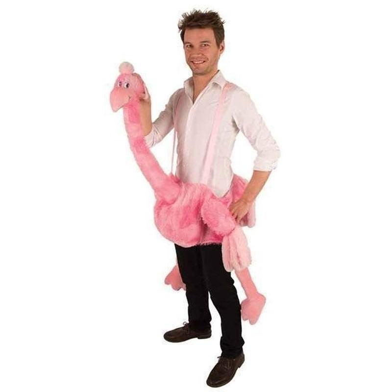 Roze struisvogel hang-on kostuum One size Roze