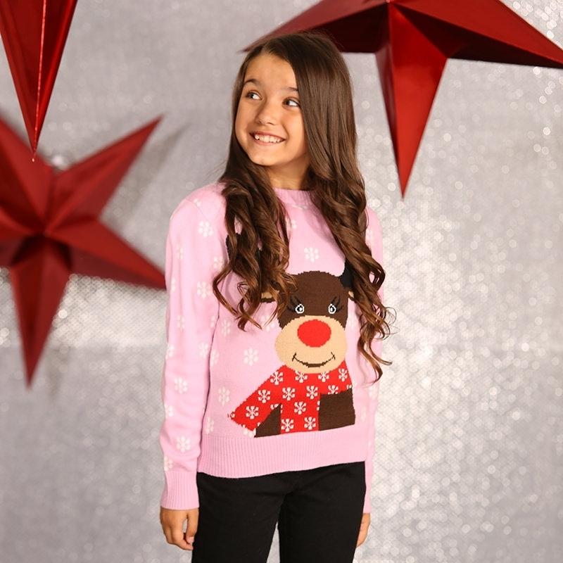 Roze winter trui rendier voor meiden 11/12 jaar (164/176) Roze