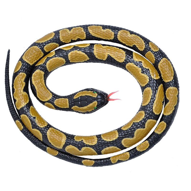 Rubberen dieren koningspython slang 117 cm Zwart