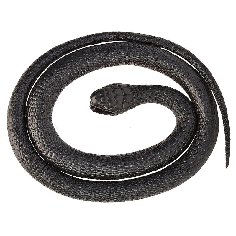 Rubberen dieren zwarte mamba slang 117 cm Zwart