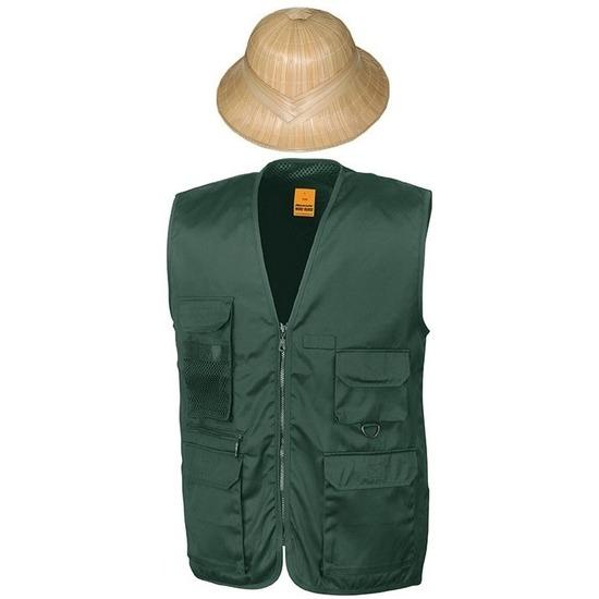 Safari explorer bodywarmer en helm groen voor volwassenen Groen