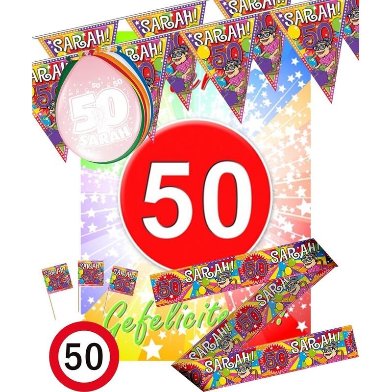 Wonderlijk Vijftig/50 jaar Sarah feestartikelen pakket M versiering voor BL-29
