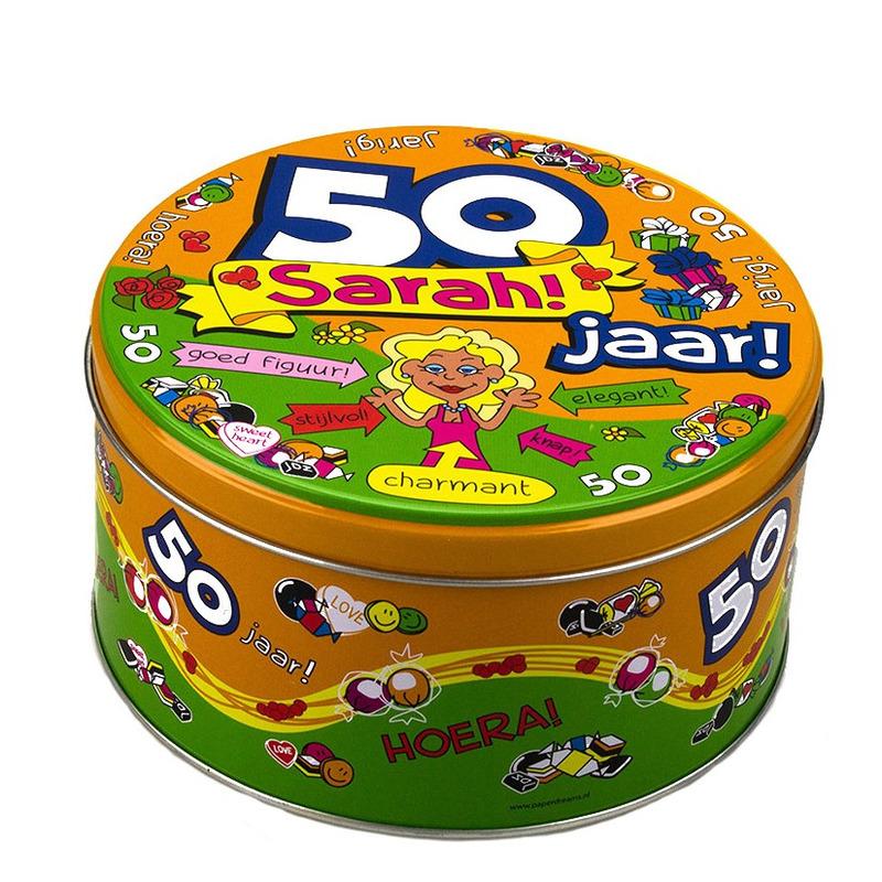 Welp Snoeptrommel/verjaardagstrommel Sarah 50 jaar cadeau/versiering WY-83