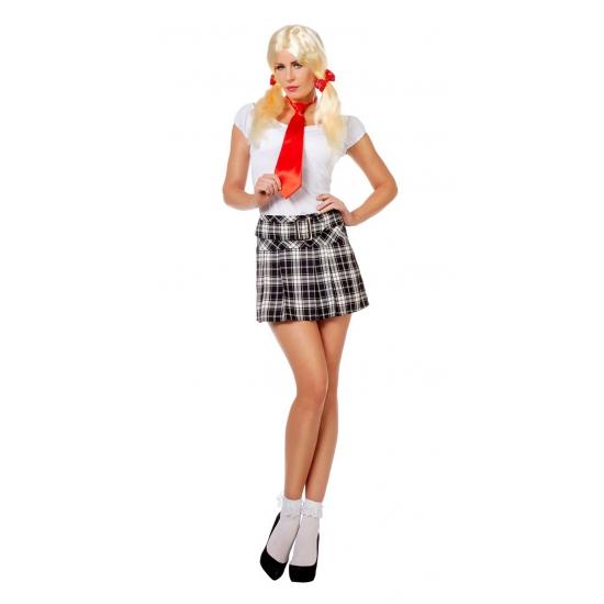 Schoolmeisje rok met zwart witte ruiten 38 (M) Zwart