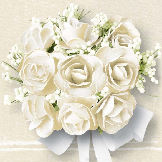 Servetjes met witte rozen 40 stuks bruiloft thema Multi