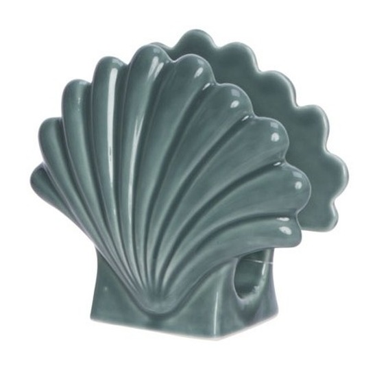 Servetten houder schelpje 12 x 13 cm Groen