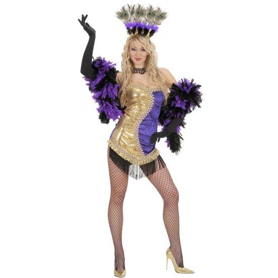 Showgirl jurkje goud/paars L Multi